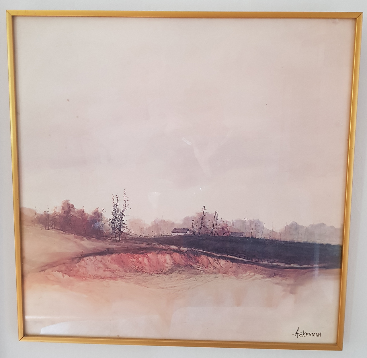 California listed artist (1933 - 1986). Watercolor of farm house by the lake.